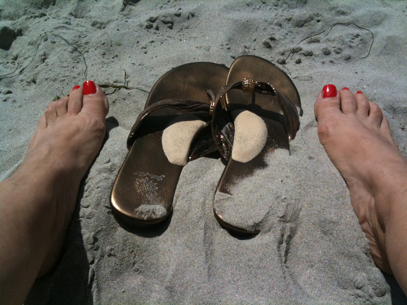 Sandals on Beach with Instant Arches